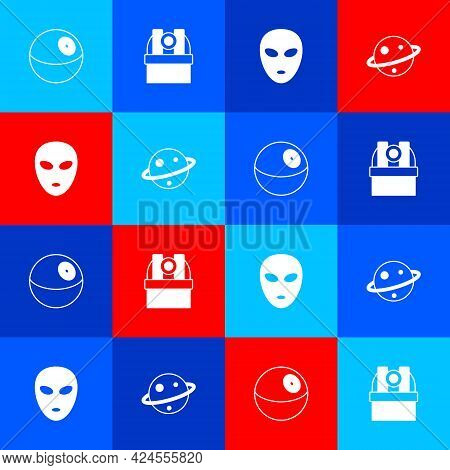 Set Planet, Astronomical Observatory, Alien And Saturn Icon. Vector