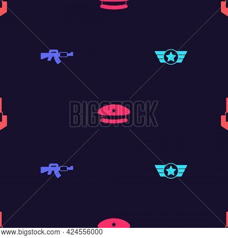 Set Star American Military, M16a1 Rifle, Military Beret And Shovel On Seamless Pattern. Vector