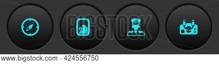 Set Compass, Airplane Window, Pilot And Aircraft Steering Helm Icon. Vector