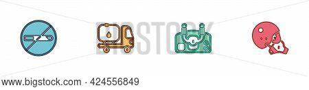 Set No Smoking, Fuel Tanker Truck, Aircraft Steering Helm And Modern Pilot Helmet Icon. Vector