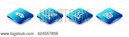 Set Isometric Line Pickup Truck, Plant, Waterproof Rubber Boot And Pack Full Seeds Plant Icon. Vecto