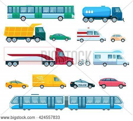 Urban Transports. Bus Taxi Police Car, Passenger Van, Truck And Train. Flat Transportation, Public V