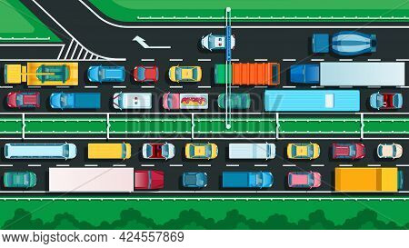 Top View Highway With Traffic Jam. Many Different Cars On City Street. Transportation Problem, Urban
