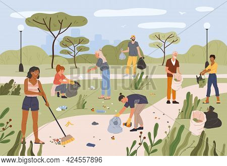 People Collecting Garbage In City Park. Men And Women Volunteers Cleaning Park Together From Trash A