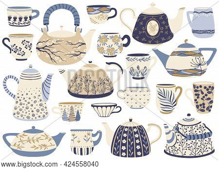 Ceramic Teapot And Cup. Porcelain Tea Kettles, Coffee Mugs With Decorative Elements. Hand Drawn Orna