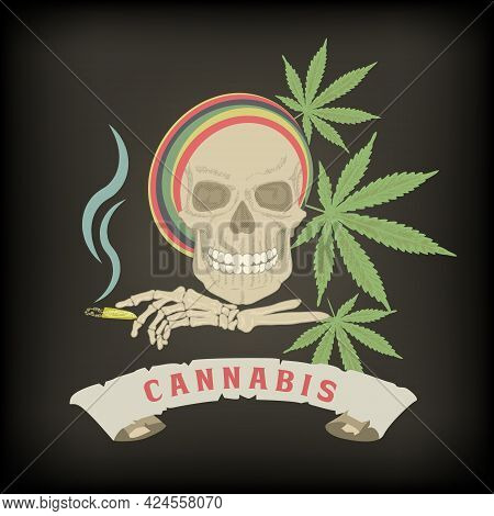 The Emblem Of The Harm Of Drugs. Skull Of A Drug Addict With A Cannabis Cigarette In A Skeleton Brus