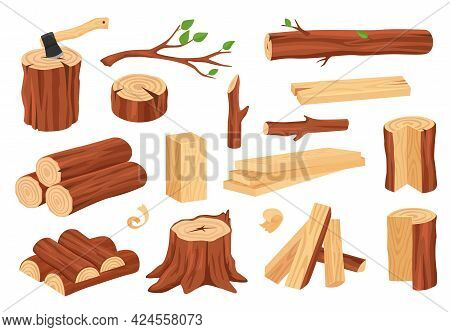 Cartoon Wood Log And Trunk. Wooden Lumber Materials Logs, Trunks, Stumps, Firewood, Planks, Branches