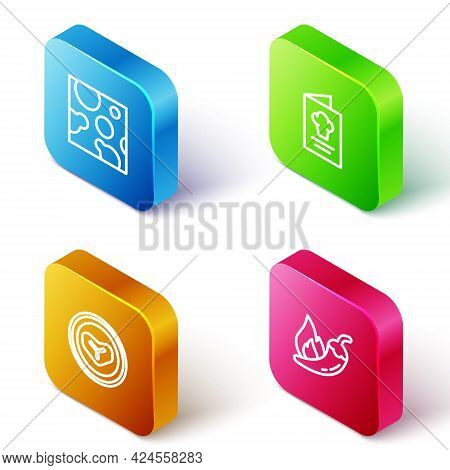 Set Isometric Line Cheese, Cookbook, Steak Meat On A Plate And Hot Chili Pepper Pod Icon. Vector