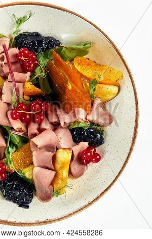 Duck Breast Salad Close-up View Of Svehru, Half A Teat With Cold Smoked Duck Breast With Lettuce And