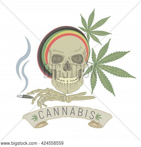 The Emblem Of The Harm Of Drugs. The Skull Of A Drug Addict With A Cannabis Cigarette In The Skeleto