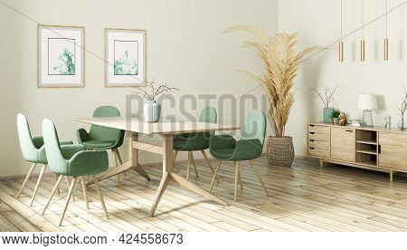 Interior Design Of Modern Dining Room, Wooden Table And Green Chairs, Scandinavian Home 3d Rendering