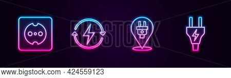 Set Line Electrical Outlet, Recharging, Plug And . Glowing Neon Icon. Vector