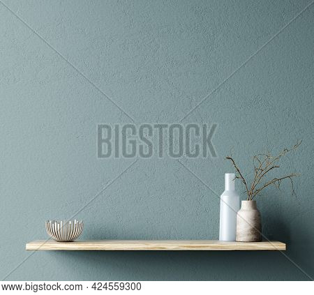 Interior Design Of Living Room With Wooden Shelf And Home Accessories.  Wall Decor With Branch In Va
