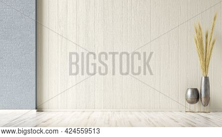 Empty Room Interior Background, Blue And Beige Stucco, Brick Wall With Copy Space And Wooden Floor,