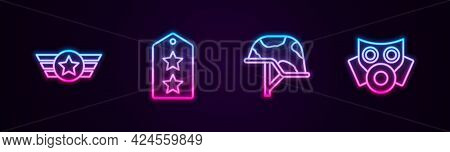 Set Line Star American Military, Military Rank, Helmet And Gas Mask. Glowing Neon Icon. Vector