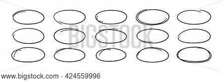 Hand Drawn Ovals. Highlight Circle Frames. Ellipses In Doodle Style. Set Of Vector Illustration Isol
