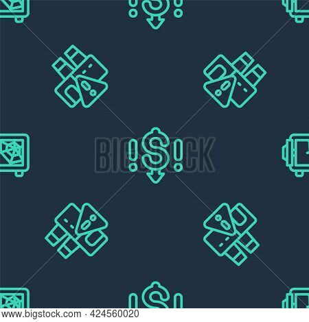 Set Line Dollar Rate Decrease, Shutdown Of Factory And Safe On Seamless Pattern. Vector