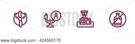 Set Line Plane Propeller, Airport Control Tower, Aircraft Steering Helm And No Alcohol Icon. Vector