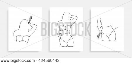 Beauty Woman In Swimsuit Continuous One Line Drawing Illustration In Trendy Style. One Line Lady Ske