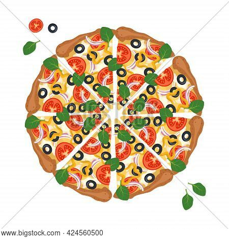 Round Pizza Cut Into Slices With Cheese, Tomatoes, Olives And Basil. Bright, Delicious Italian Food