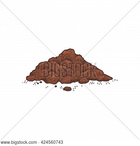 Heap Of Cocoa Powder Hand Drawn Engraving Vector Illustration Isolated.
