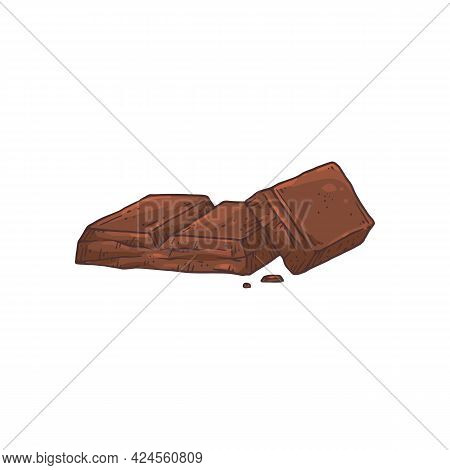 Several Pieces Of Chocolate, Hand Drawn Etched Vector Illustration Isolated.