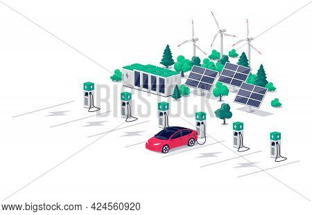 Electric Car Charging On Parking Lot With Fast Supercharger Station And Many Charger Stalls. Vehicle