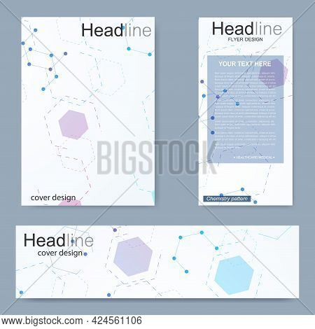 Set Flyer, Brochure Size A4 Template, Banner. Molecular Structure With Connected Lines And Dots. Sci