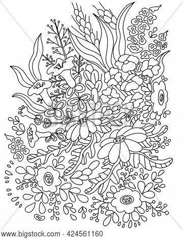 Wildflowers, Leaves And Berries. Beautiful Bouquet, Botanical Composition. Coloring Books For Adults