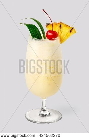 Pina Colada with pineapple and cherry on top background mockup