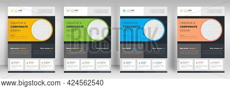 Corporate Business Flyer Template Design Set With Blue, Yellow, Cream And Light Green Color. Digital
