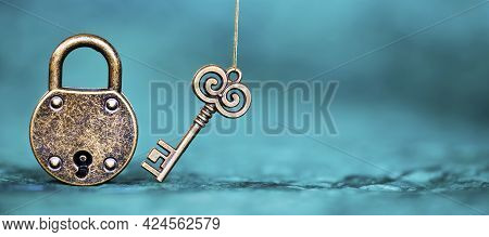Escape Room Game Banner, Old Vintage Key And Padlock On A Blue  Background.