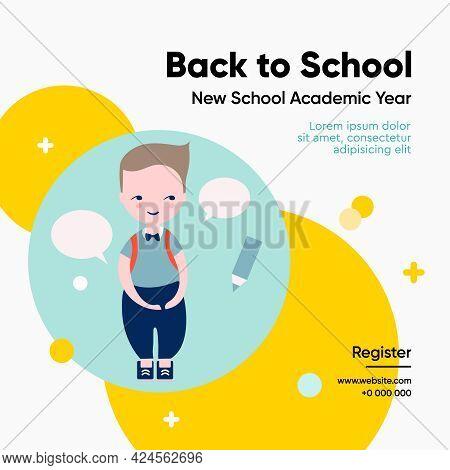 Back To School Template, Social Media Post. Vector Illustration