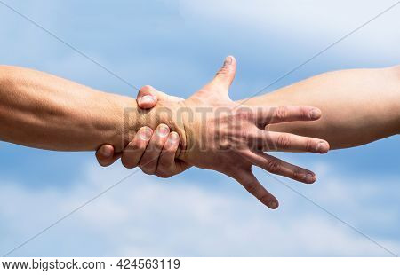 Rescue, Helping Gesture Or Hands. Close Up Help Hand. Helping Hand Concept, Support. Friendly Handsh