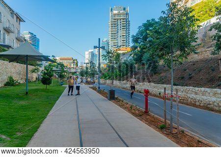 Tel-aviv, Israel - June 17, 2021: Scene Of Park Hamesila, Urban Park Along The Historic Ottoman Rail