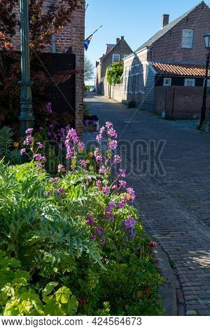 City View On Old Medieval Houses In Small Historical Town Veere In Netherlands, Province Zeeland