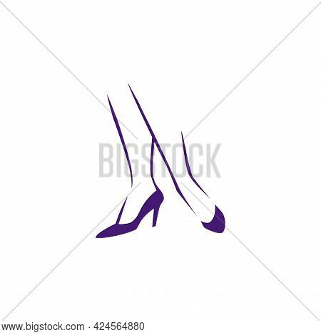 Beautiful Hand Drawn Woman Foot On High Heels Shoes Silhouette Isolated. Vector Flat Illustration. F