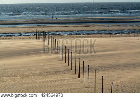 Yellow Sandy Beach In Small Belgian Town De Haan Or Le Coq Sur Mer, Luxury Vacation Destination, Sum