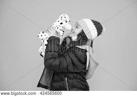 My Best Friend. Happy Child Hold Toy Dog Blue Background. Small Girl Play With Toy Friend. Friend An