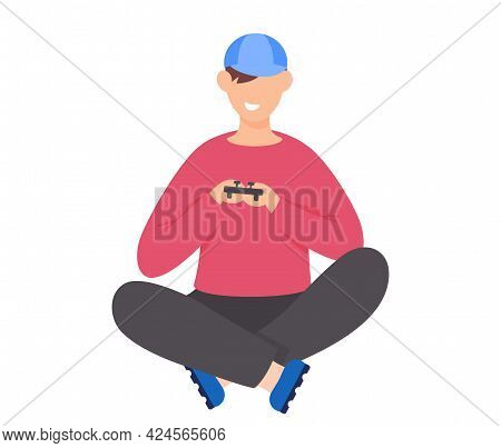 Guy Plays Video Games. Young Man Gamer Gaming With Gamepad Controller, Holding Joystick In Hands Fla
