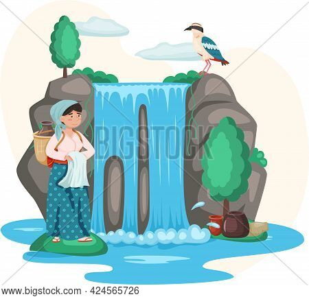Woman With Jug Stands Near Waterfall With Clean Water Rock And Falling Water, Tropical River. Beauti