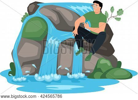 Man Sitting Next To Rock And Waterfall. Clean Nature Concept, Tropical River And Beautiful Waterfall