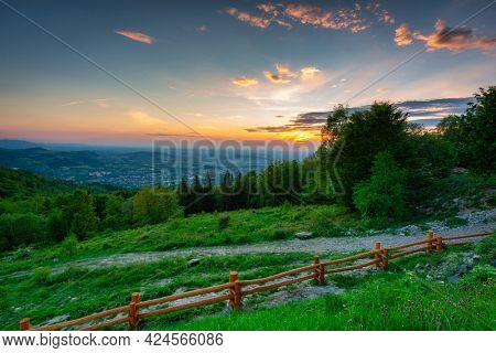 Amazing sunset from the Rownica peak with the Silesian Beskids view. Poland