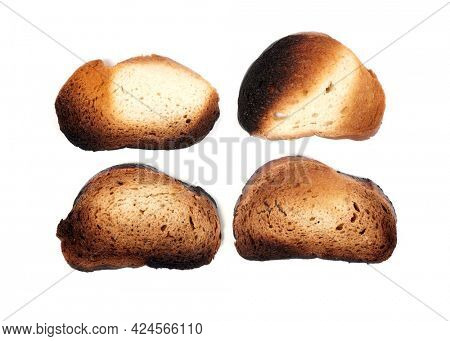 Burnt crackers on a white background