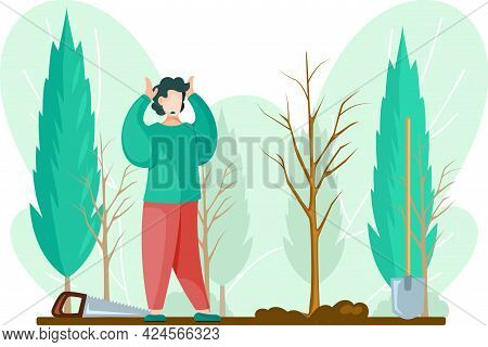 Man With Gardening Tools Standing Holding His Head With Hands. Man Buries Seedling In Ground, Planti