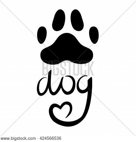 A Dogs Paw With Black Heart Is Isolated On White Background. Vector Illustration In Doodle Style. Pa