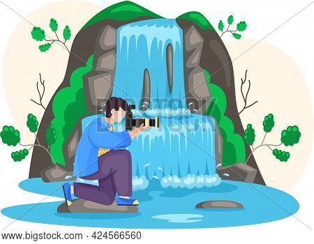 Waterfall In Mountaines Natural Landscape In Park. Traveler Photographing Water Flow Falls Down Moun