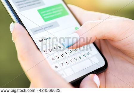 Text Message With Mobile Phone. Woman Texting Sms With Smartphone Catfish Or Digital Scam. Screen Ke