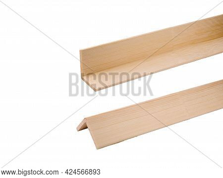 Wooden Glued Construction Corners For Finishing Work And Decoration Isolated On A Clean White Backgr