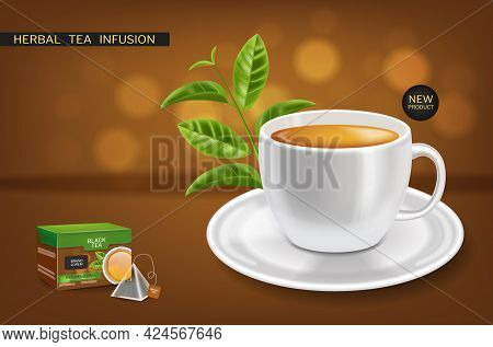 Herbal Tea Infusion Mock Up Vector Realistic. Product Placement Label Designs